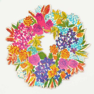 colourful wreath, christmas, floral, screen printed, east end press