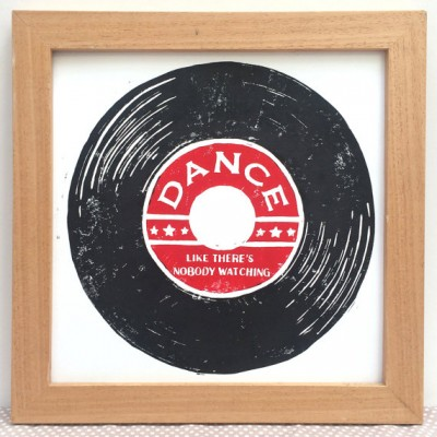 vinyl record, dance like nobody is watching, dance, linocut, black and red, woah there pickle