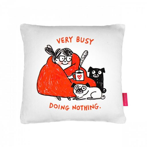 Very Busy Doing Nothing Cushion by Gemma Correll