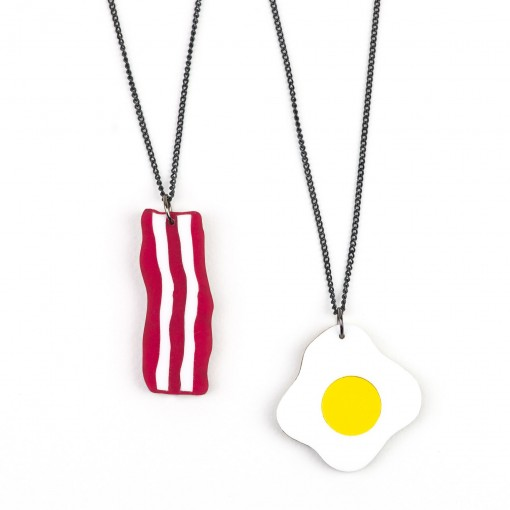 hello sunshine, breakfast, eggs, fried egg, sunny side up, bacon, streaky,necklace, jewellery,