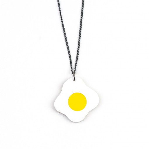 hello sunshine, breakfast, eggs, fried egg, sunny side up, necklace, jewellery, acrylic