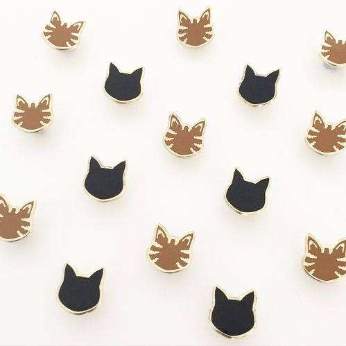 enamel cat pins, black cat, tabby cat, hello sunshine, brooches, pins, bling
