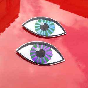 eye, eye patch, eye brooch, arkdesign, ark cambridge, foil embossed eye