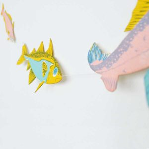 fish garland, home decor, screen printed, east end press