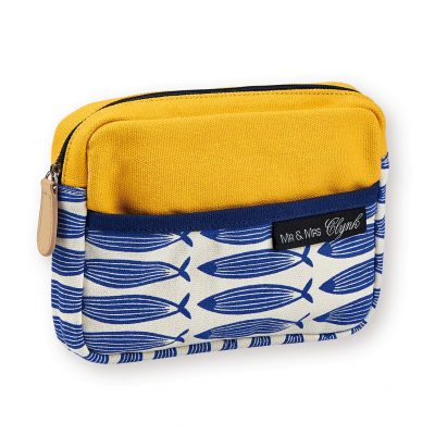 gorgeous screen printed small make up pouch, featuring a cool graphic fish design. Perfect spring/summer colours