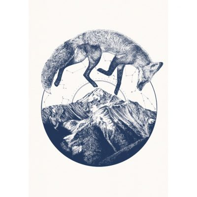 fox and mountain - blue
