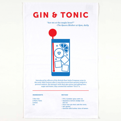 The Gin & Tonictea towel includes a brief history, recipe and unique design of this classic drink.
