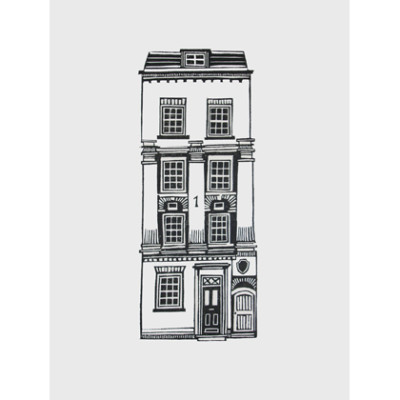 A black and white british town house