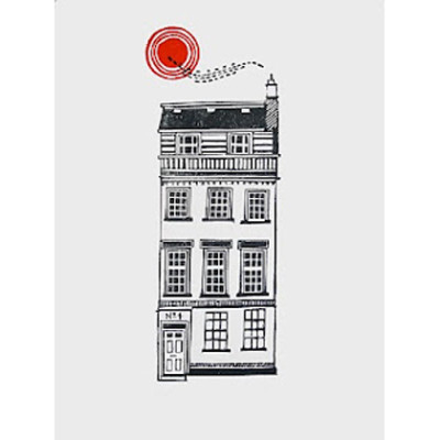 black and white tenement house with left set door and red sunshine