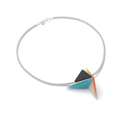 ice – pendant – yellow - turquoise -gold mirror - black 2 by Inca Starzinski at The Red Door Gallery