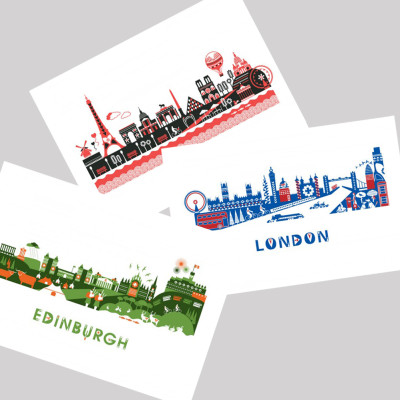 London Paris Edinburgh - skyline post cards