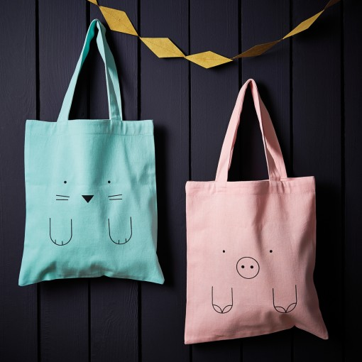 tote bag, kids bag, cat, rabbit, bunny., elephant