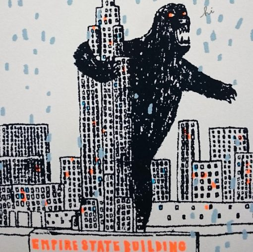 king kong, new york, empire state building, snow globe, screen print, charlotte farmer