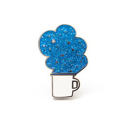 magic coffee, enamel pin, glitter, and smile