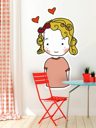 Curly Hair and Hearts Wall Sticker