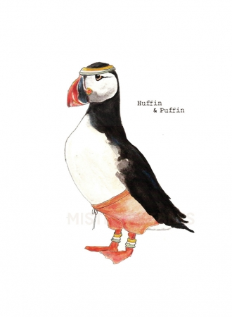 Huffin Puffin A3 Print