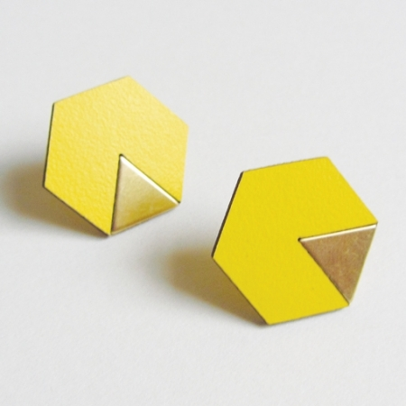 Yellow Brass Formica Hex Earrings