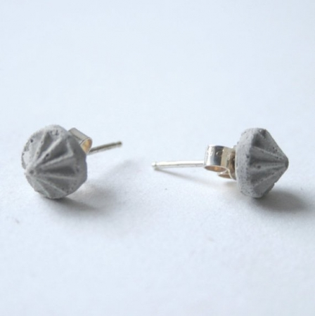 Grey Concrete Stud Earrings - Gems
