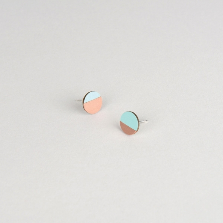 Form Circle Earrings Mint and Copper