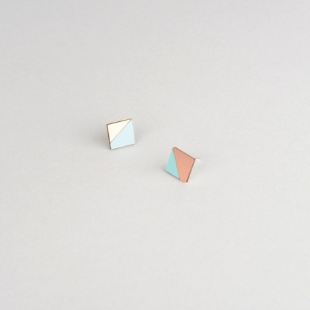Form Square Earrings Mint and Copper