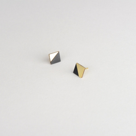 Form Square Earrings Brass and Black