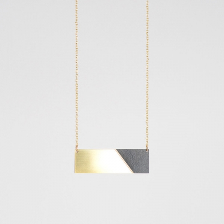 Form Bar Necklace Brass and Black