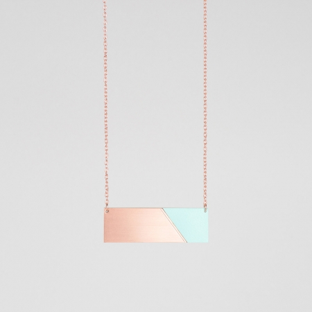 Form Bar Necklace Copper and Mint