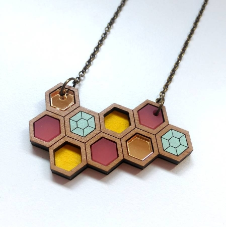 Small Hexagon Geometric Necklace