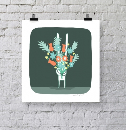 Rabbit With Flowers Print