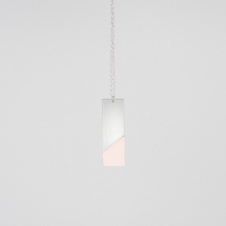Form Drop Necklace Steel and Pink
