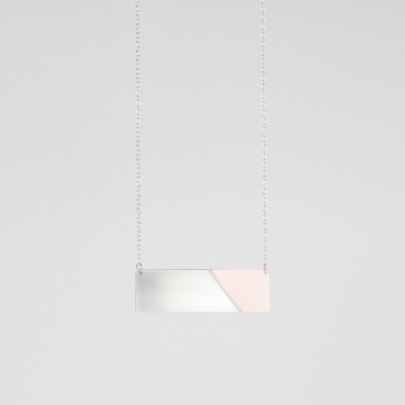 Form Bar Necklace Steel and Pink