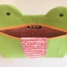 Green Zip Monster Handmade Cosmetic Bag - yellow zip detail 3- by Mika Bon Bon at The Red Door Gallery