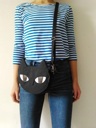 Black Cat Across Body Handbag
