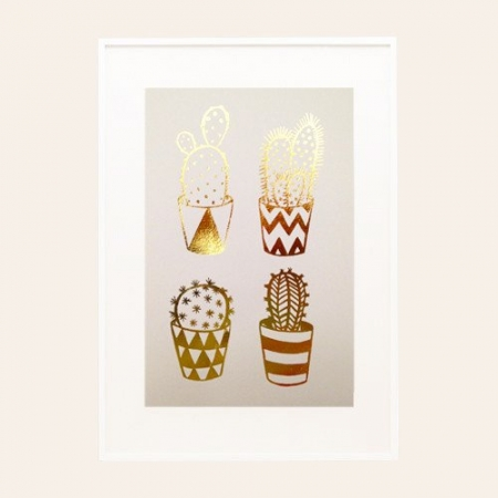 Gold Foil Cacti A4 Print on Pink