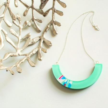 Mint Crescent Necklace