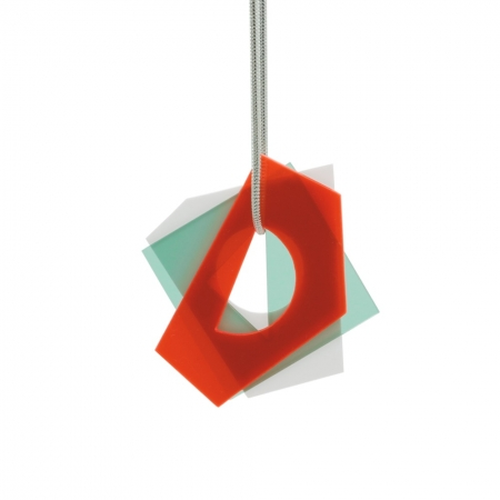 Small Layer Pendant - Fluro Red and Blue