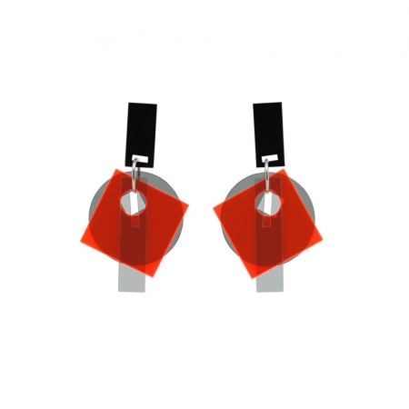 Large Layer Earrings - Fluro Red and Grey