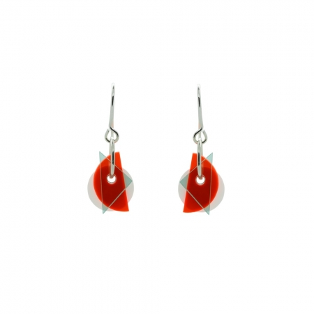 Small Layer Earrings - Fluro Red and Green