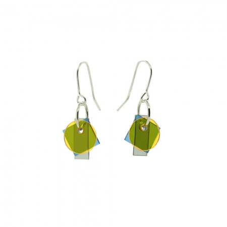 Small Layer Earrings - Yellow and Blue