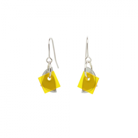 Small Layer Earrings - Yellow and Grey