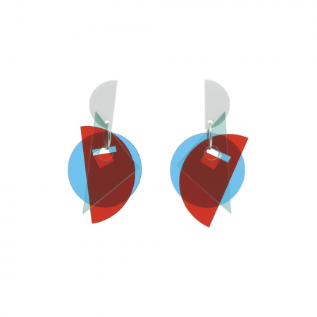 Large Layer Earrings - Red and Blue