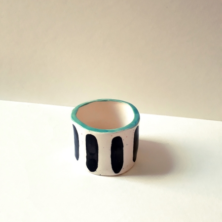 Wee Low Striped Pot - Turquoise Rim