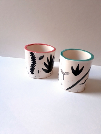 Small Plant Patterned Pots