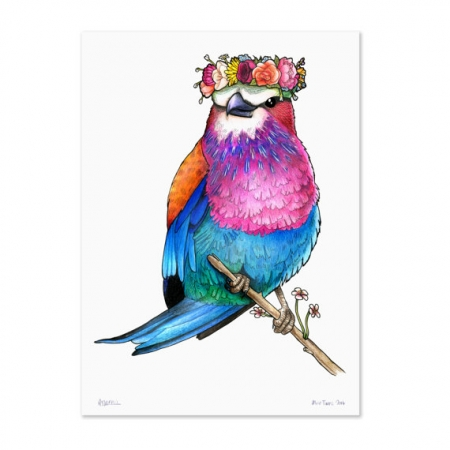 Lilac Breasted Roller in a Floral Crown