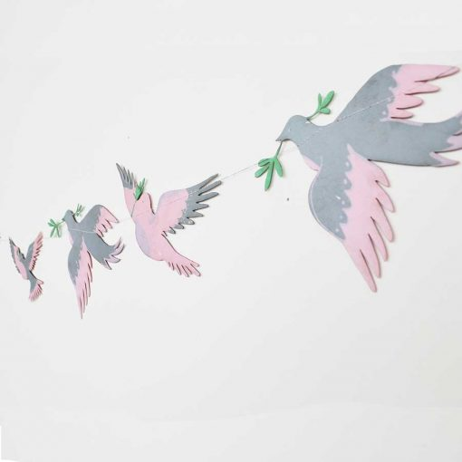 pastel, bird garland, screen printed, east end press