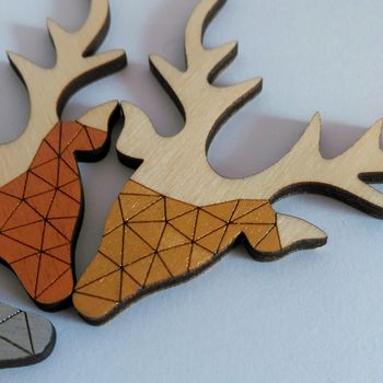 Geometric Stag Brooch by Twiggd - Available in copper, Gold and Silver