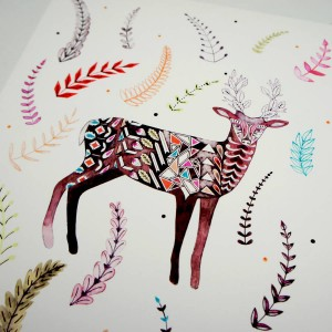 original flowering antlers deer giclee print detail by Kirsty Baynham