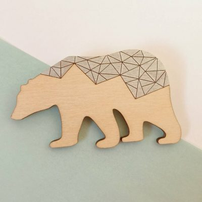Polarbear Geometric Brooch by Twiggd