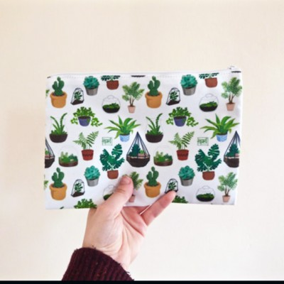 zip case, pencil case, plants, cacti, terrarium, hari draws