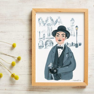 detective,Poirot,tv detective,investigator, art print, and smile, prin